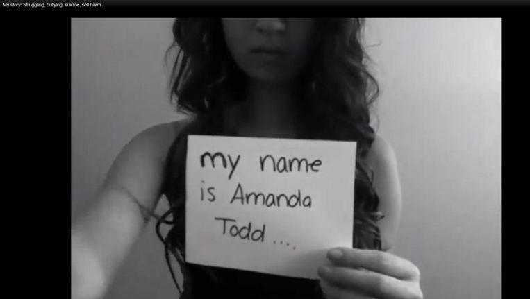 Beeld uit het afscheidsfilmpje van Amanda Todd, voor zij zich in 2012 van het leven beroofde. Beeld anp
