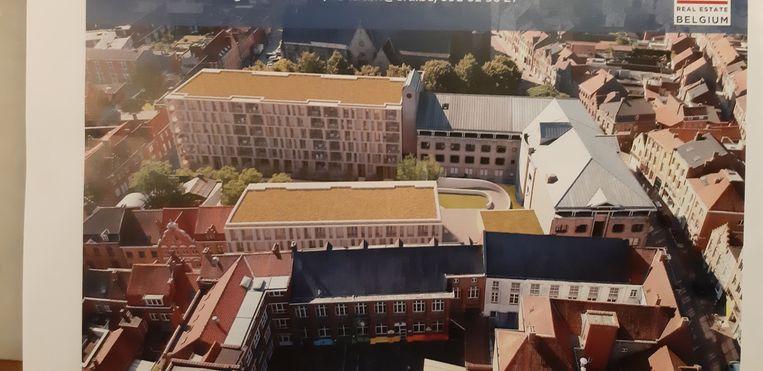 De site Zwarte Zusters met het nieuwe appartementsgebouw.