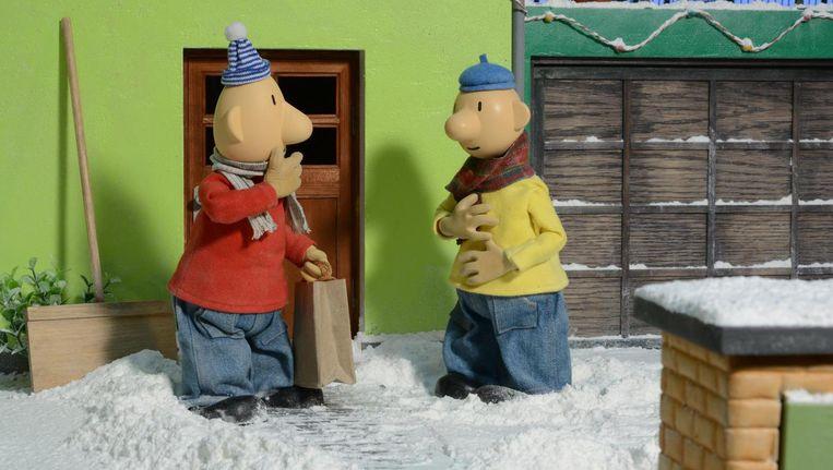 Buurman & Buurman in de sneeuw Beeld -
