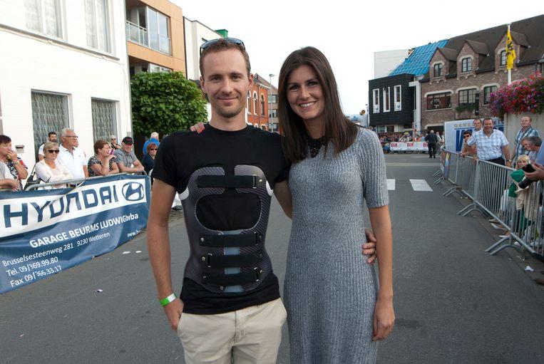 Edward Theuns en Lien Crapoen aan de start van het Derny Festival.