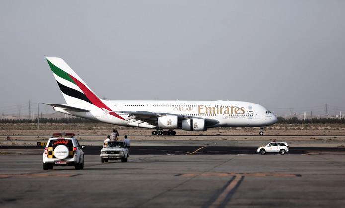 Een A380 van Emirates