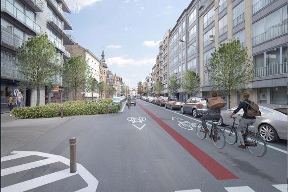 Het wegdek van de Rijselsestraat wordt versmald, door extra groen en parkeerplaatsen meer naar het midden op te schuiven.