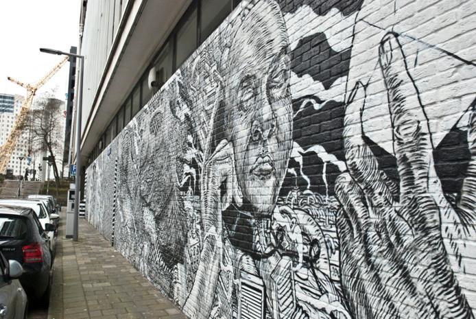 Een schildering van Bier en Brood, één van de deelnemende artiesten, in de Rotterdamse Ketelaarsstraat .