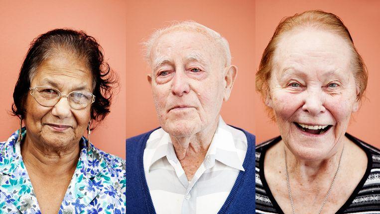 Mevrouw Devids (78), meneer Ulenberg (93) en mevrouw Verwij-Scheffer (80). Beeld Ernst Coppejans
