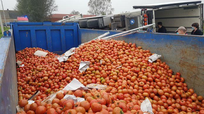 Alle tomaten worden in containers gegooid om weggebracht te worden.