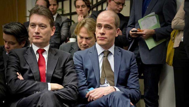 VVD-fractievoorzitter Zijlstra (links) en PvdA-fractievoorzitter Samsom (rechts) half februari bij de presentatie van het woonakkoord. Beeld null