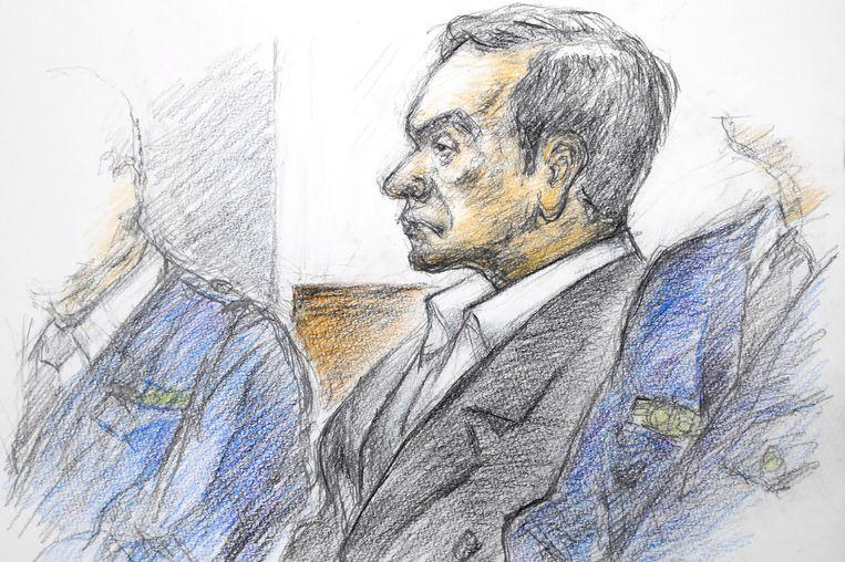 Een rechtbanktekening van Carlos Ghosn. Beeld AFP