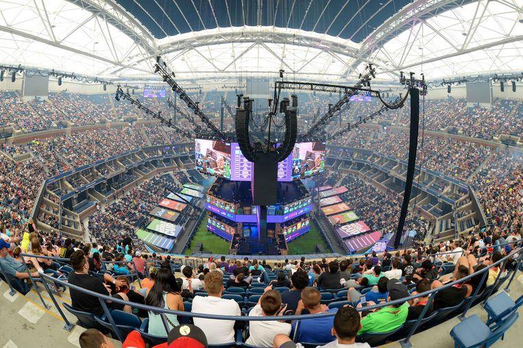 Het Arthur Ashe stadion is dit weekend volledig uitverkocht voor het WK Fortnite.