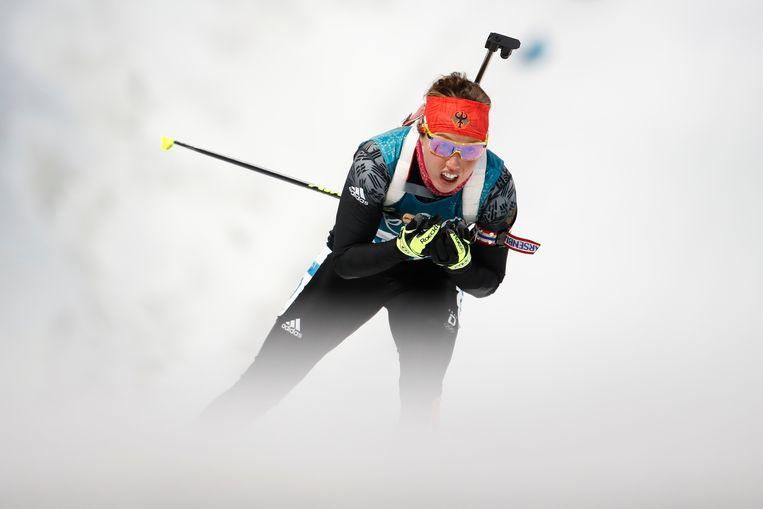 Dahlmeier tijdens haar uitputtende tocht. Beeld AFP