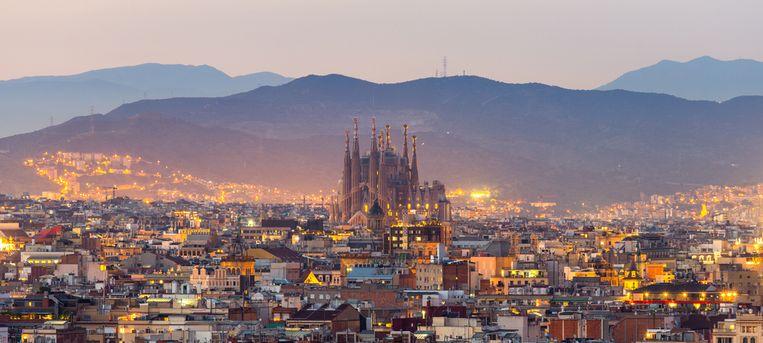 Zicht op de Sagrada Familia, Barcelona.
