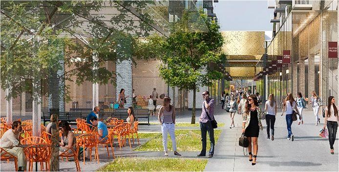 Impressie van het nieuwe Frederikhof (het huidige Hendrikhof) met de blik richting Heuvelstraat.