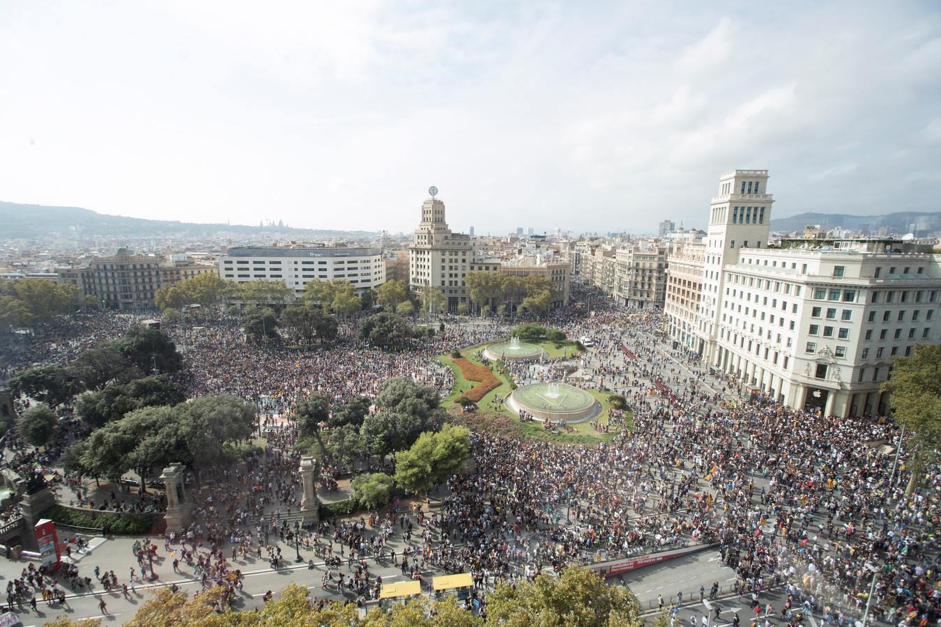 Demonstratie tegen de gevangenisstraffen van Catalaanse separatistische leiders.