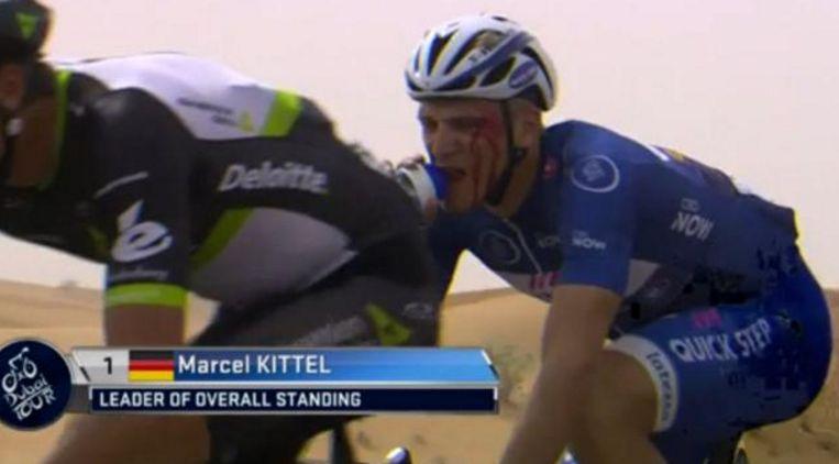 Kittel kreeg een slag in het gezicht van Grivko tijdens de Ronde van Dubai