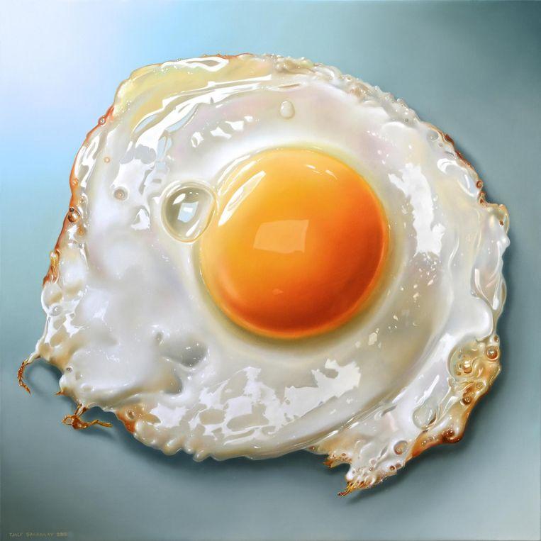Fried Egg van Tjalf Sparnaay. 2015, olieverf op linnen, 100 x 100 cm. Beeld Collectie Tjalf Sparnaay