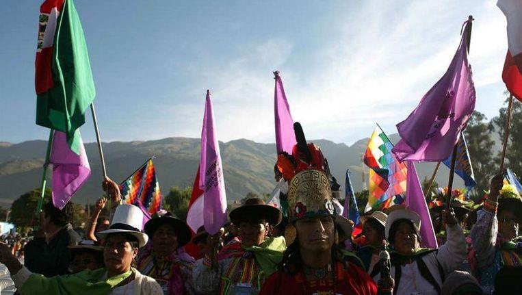 Deelnemers aan de eerste internationale klimaatconferentie voor burgers, in 2010 in de Boliviaanse stad Cochabamba. Beeld AFP