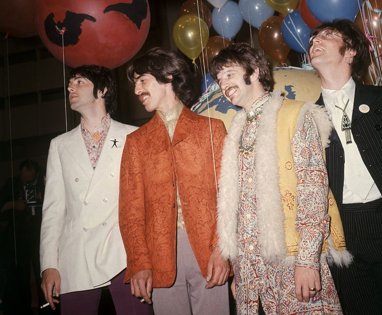 Paul McCartney, George Harrison, Ringo Starr en John Lennon van The Beatles in 1967. Beeld AP