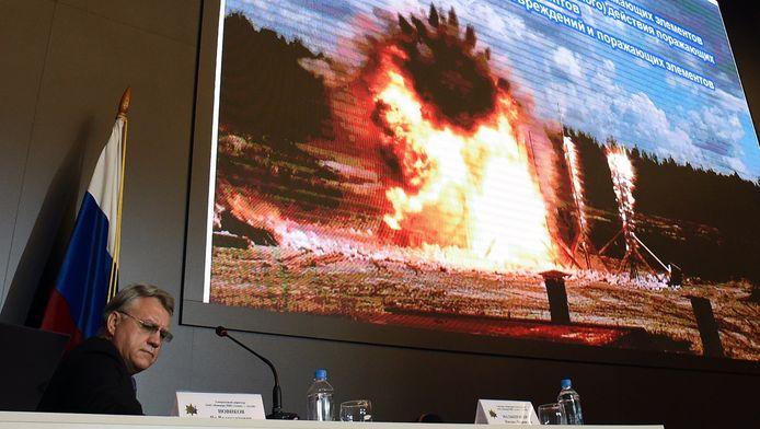 Directeur Ian Novikov van de Russische wapenfabrikant Almaz-Antej, maker van het BUK-raketsysteem, tijdens de persconferentie dinsdagochtend in Moskou.