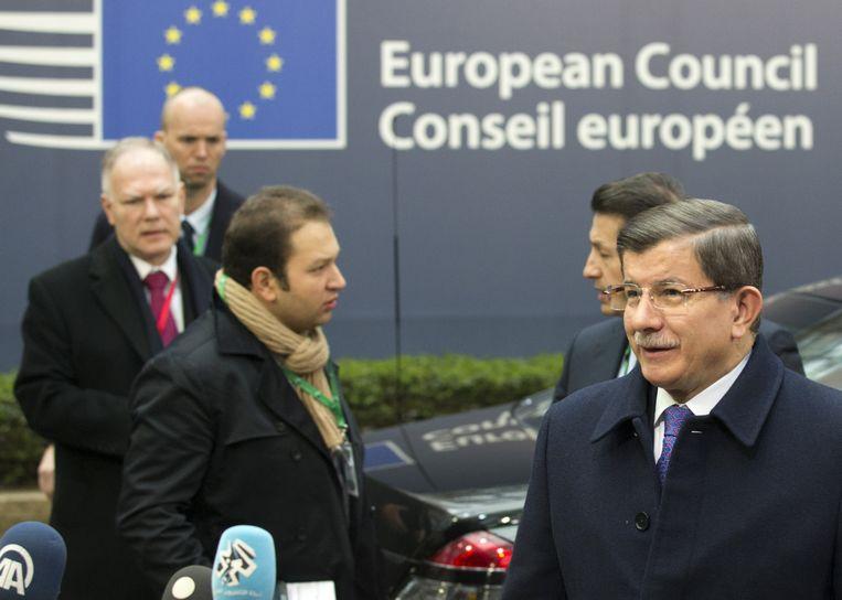 De Turkse premier Davutoglu komt vrijdag aan in Brussel. Beeld ap