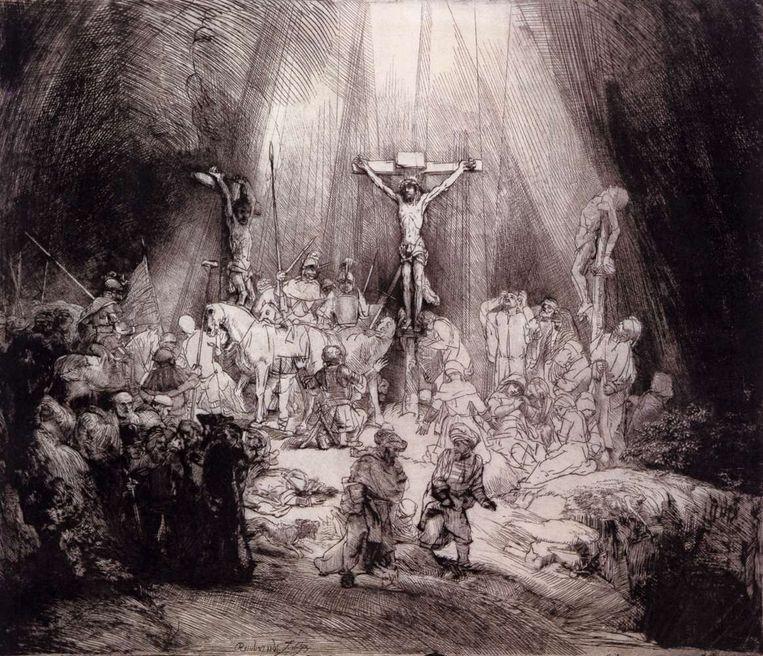 De Drie Kruisen, de ets van Rembrandt die Frank martin tot zijn Golgotha inspireerde Beeld Wikimedia Commons
