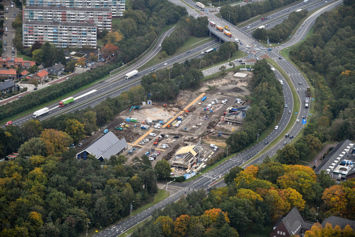 De bouw van het Veluwe Fun Park aan de Boekhorstlaan in Harderwijk.