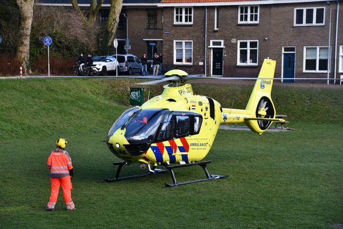 De traumahelikopter landde op de voormalige bouwplaats aan de Zuidsingel