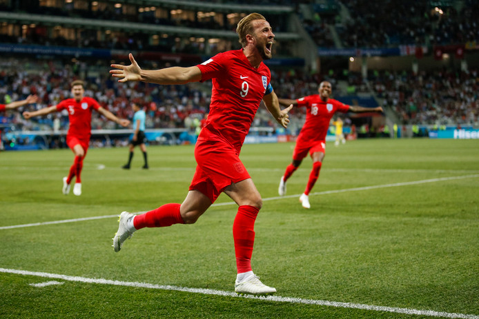 Harry Kane of England celebrates after scoring his side's second goal to make the score 2-1  FOOTBALL : Tunisie vs Angleterre - Coupe du Monde 2018 - Volgograd - 18/06/2018 © PanoramiC / PHOTO NEWS PICTURES NOT INCLUDED IN THE CONTRACTS  ! only BELGIUM !