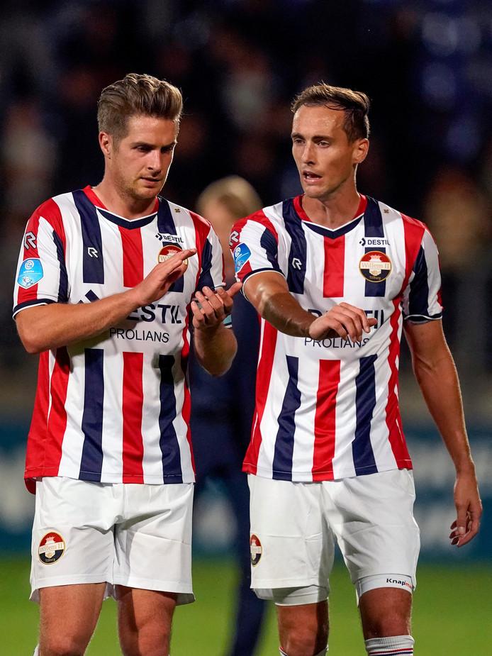 Jordens Peters (links) met ploeggenoot Freek Heerkens.