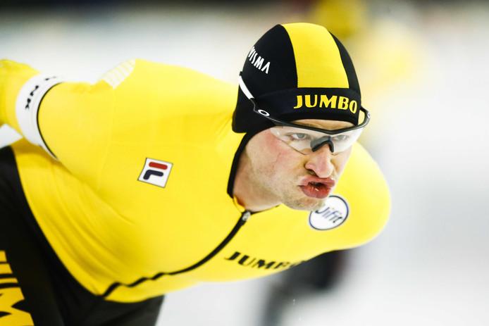 28 december vorig jaar: Sven Kramer in actie op de 5000 meter op de NK Afstanden in Thialf.  Kramer kan komend weekeinde voor de tiende keer Europees kampioen allround worden.