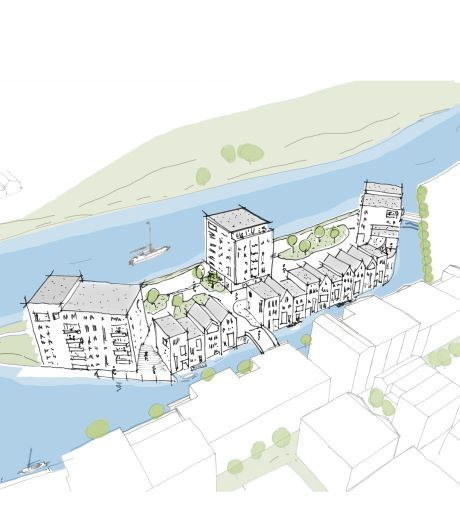 Prestigieus eiland Iseldoks krijgt 18 grachtenpanden en complex met 44 woningen