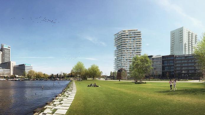 Een impressie van de toren Haut, van hout, die in Amsterdam wordt gebouwd in opdracht van ABN Amro.