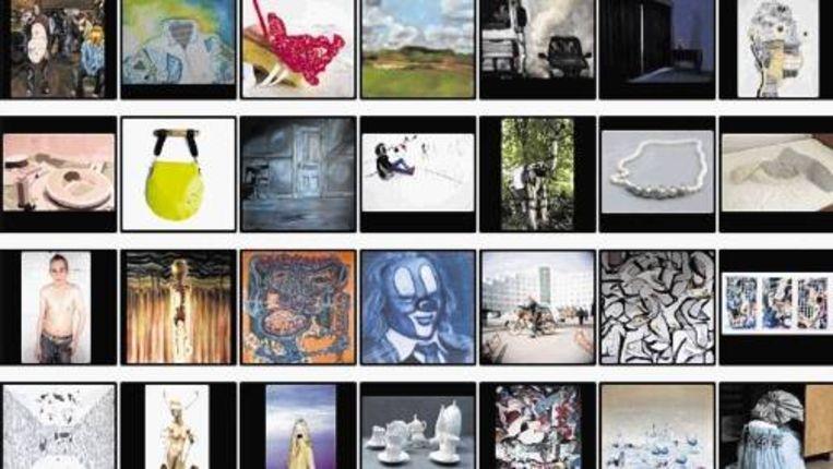 Kunstveiling 'ONGEKEND' veilt werk van vijftig jonge kunstenaars. Een groot deel van hen is net afgestudeerd. (Trouw) Beeld