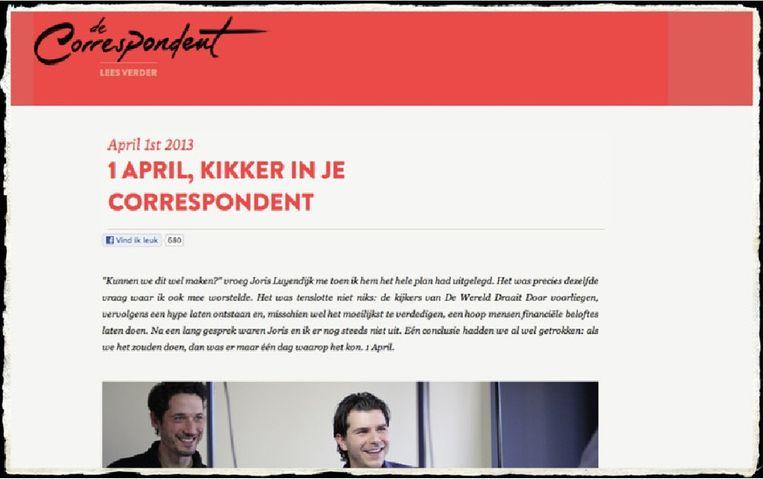 Fragment van decorrespondent.org. Beeld decorrespondent.org