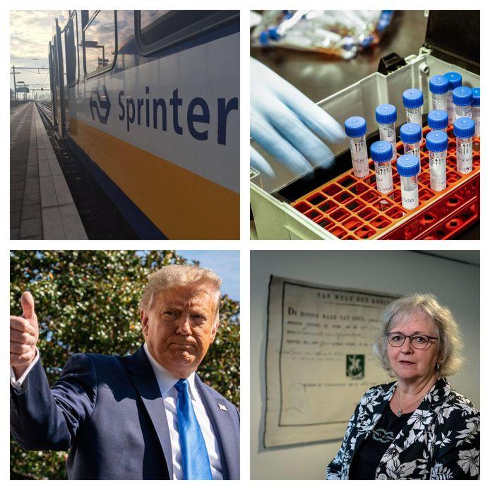 Met de klok mee: de NS past de dienstregeling aan, bij de teststraten is het zeer druk, Rotterdammer Floris Schreuder (34) ontdekte waarom Donald Trump populair is in de VS en burgemeester Ridderkerk in shock na schietpartij.