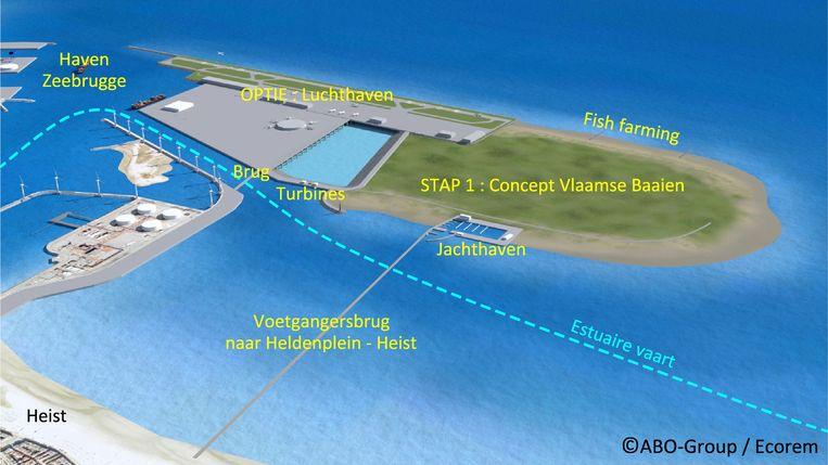 ABO-Group verwerkte onder meer een luchthaven, voetgangersbrug, natuurgebied en 'visboerderij' in de plannen van het energie eiland.