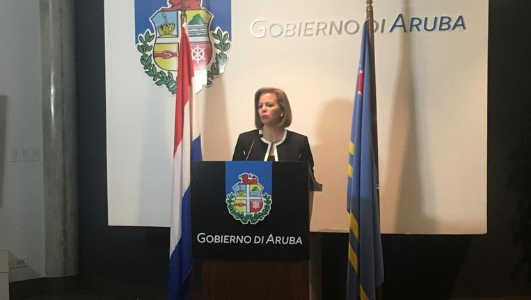 Premier Evelyn Wever-Croes van Aruba na afloop van het overleg met Venezuela. Beeld Kees Broere