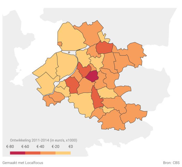 Overzicht van de vermogens per gemeente. Illustratie Local Focus