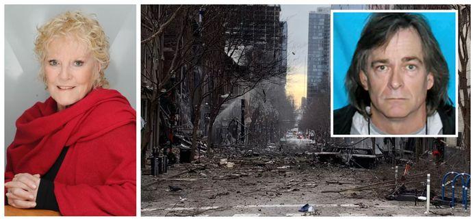 Petula Clark (88), foto uit 2015. Foto rechts: de zware schade na de autobom in Nashville, inzet: omgekomen dader Anthony Quinn Warner.