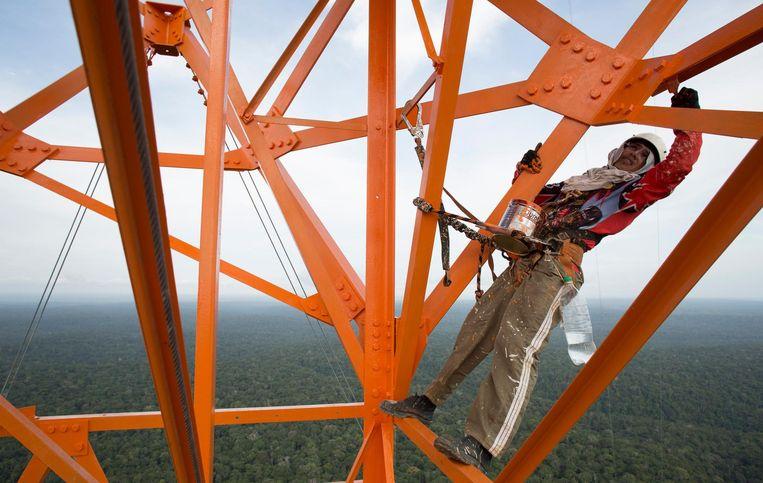 Een schilder hangt honderden meters boven de grond om de observatietoren in de verf te zetten, het zal je werk maar zijn. Beeld reuters