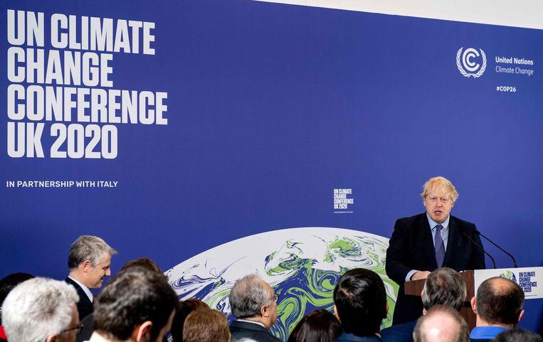 Begin februari gaf de Britse premier Boris Johnson nog het startschot voor de voorbereidingen voor de VN-top. Beeld AFP