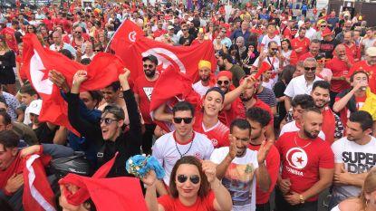 Belgische en Tunesische supporters vieren samen