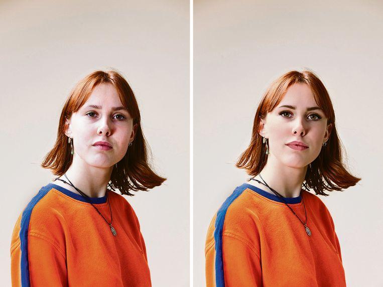 Meike van der Weij, links op een onbewerkte foto. De rechterfoto is door onze vormgever op haar telefoon bewerkt met de populaire filter-app Perfect365. Hierdoor krijgt het gezicht automatisch make-up en een virtuele facelift. Beeld