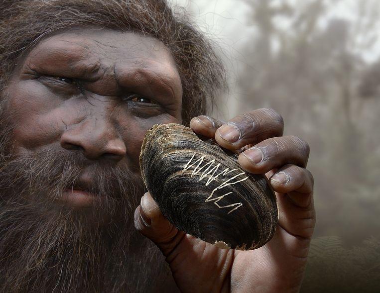 Reconstructie van de bekraste mossel met een Homo erectus. Beeld Universiteit Leiden / artiest: Minke van Voorthuizen