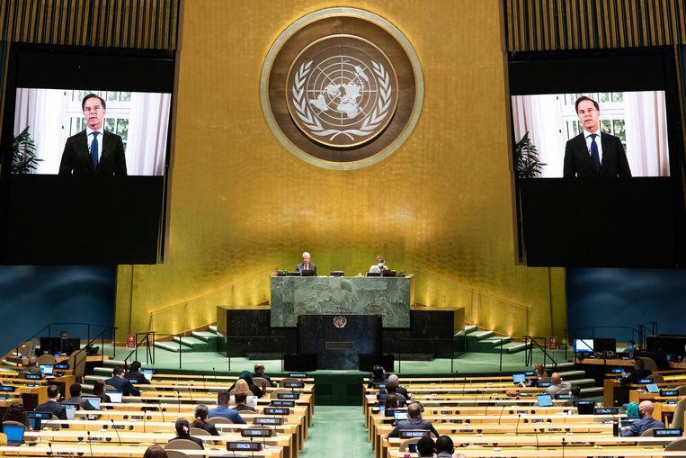 Premier Rutte sprak afgelopen maand de Algemene Vergadering van de Verenigde Naties toe.  Beeld Photo News