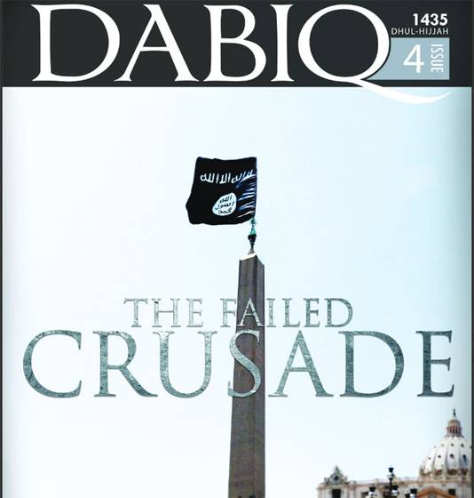 De voorpagina van het online IS-magazine Dabiq. Te zien is hoe de IS-vlag wappert op het op de obelisk op het Sint-Pietersplein in Vaticaanstad.