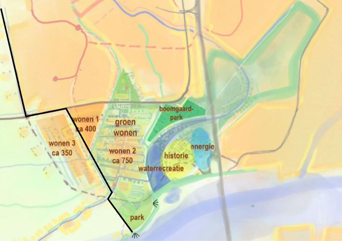 Een schets van de mogelijke toekomstige uitbreiding van IJsselstein rond het Kromme IJssel Park. De zwarte lijn is de gemeentegrens met Lopik