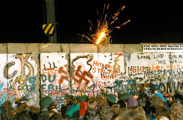 De nacht van de val van de muur op 9 november 1989. Beeld Archieffoto ANP