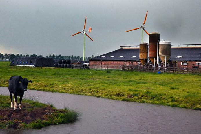De turbines in kwestie staan al een jaar op een boerenerf aan het Graafland. Het college van b en w van Molenlanden verleende in eerste instantie een vergunning, zag iets in de eigen regels over het hoofd.