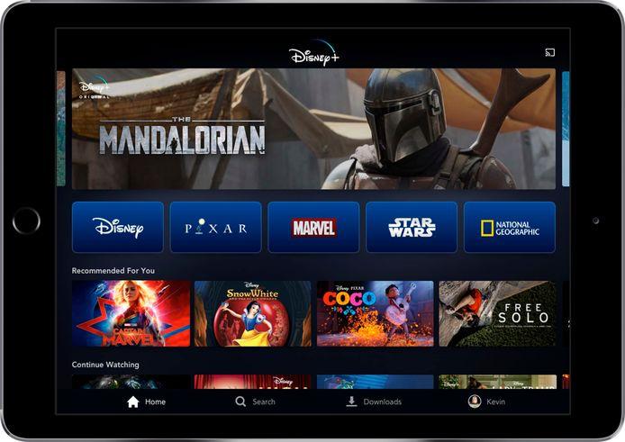 Een voorbeeld van Disney+ op de tablet.