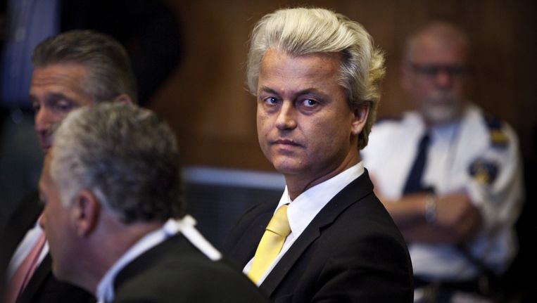 Geert Wilders afgelopen mei in de rechtbank in Den Haag. Beeld epa