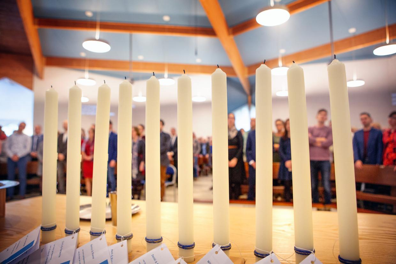 Een dienst in de Westerkerk in Veenendaal, een orthodoxe kerk van de gereformeerde bond.  Beeld Maarten Hartman